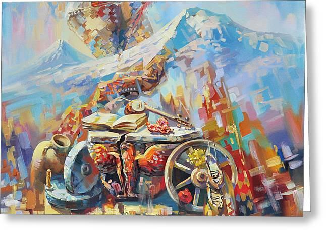 Armenian Greeting Cards - Eagle of Zvartnots Greeting Card by Meruzhan Khachatryan