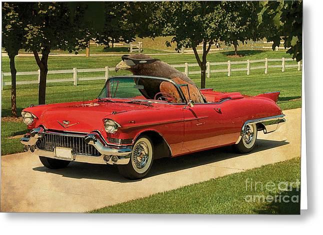 Posters On Mixed Media Greeting Cards - Eagle on Cadillac El Dorado 1957 Greeting Card by Pablo Franchi
