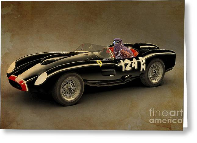 Posters On Mixed Media Greeting Cards - Eagle on Ferrari Testarossa Greeting Card by Pablo Franchi
