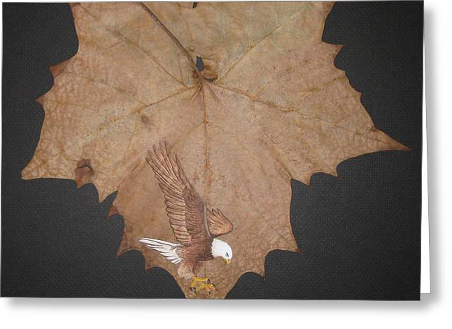 Eagle On Leaf Greeting Card by Jules Wagner
