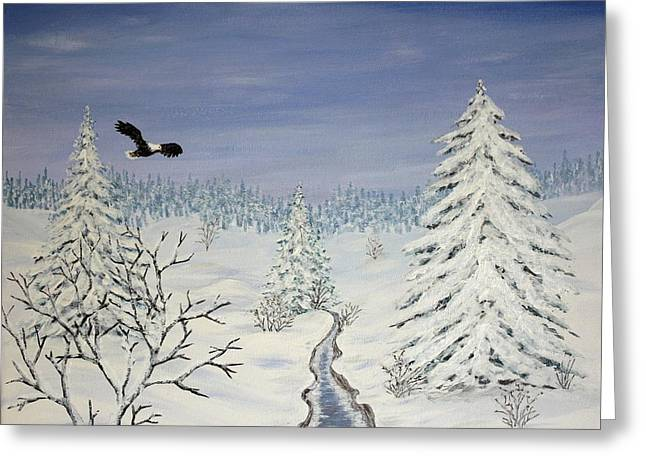 Flying Eagles Greeting Cards - Eagle on Winter Lanscape Greeting Card by Georgeta  Blanaru