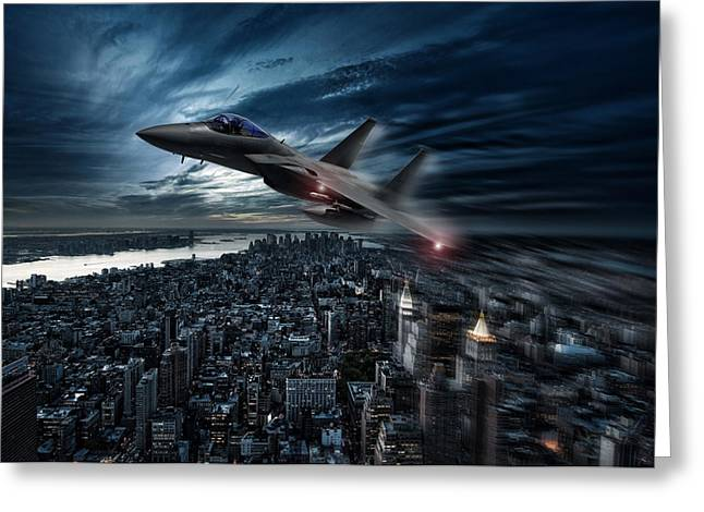 Jet Airplane Greeting Cards - Eagle Over New York Greeting Card by Peter Chilelli