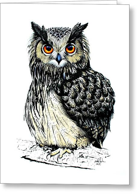 Nocturnal Animal Print Greeting Cards - Eagle Owl Greeting Card by Isabel Salvador