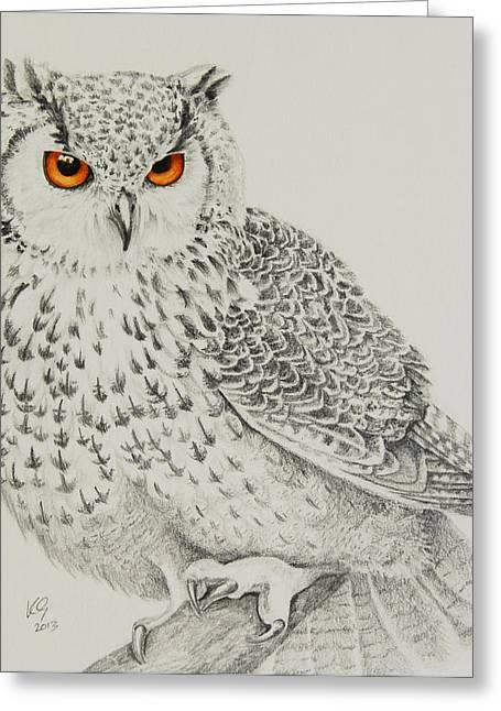 Eagle Owl Greeting Card by Katharine Green