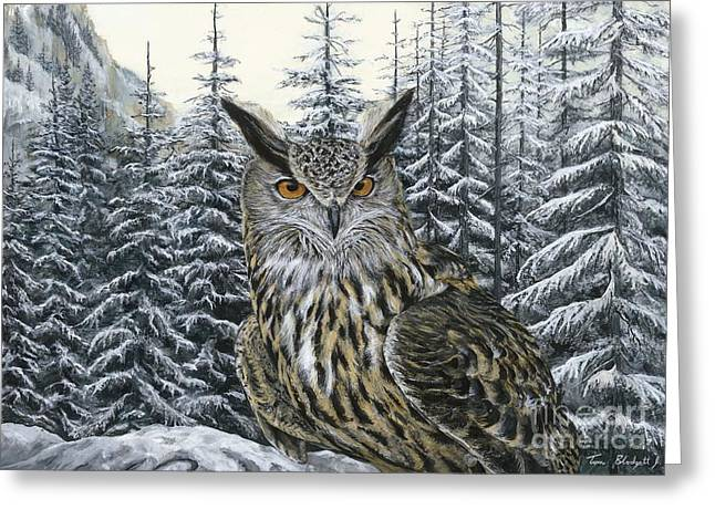Birds In Winters Greeting Cards - Eagle Owl Greeting Card by Tom Blodgett Jr