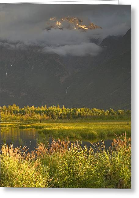 Chugach Greeting Cards - Eagle Peak In Storm Clouds Near Sunset Greeting Card by Michael DeYoung