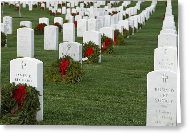 Eagle Point National Cemetery At Christmas Greeting Card by Mick Anderson