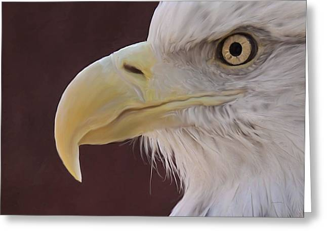 Freehand Greeting Cards - Eagle Portrait Freehand Greeting Card by Ernie Echols