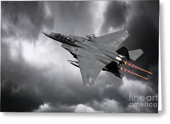 Military Strike Greeting Cards - Eagle Power Greeting Card by J Biggadike