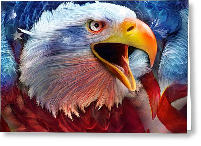 Independence Day Mixed Media Greeting Cards - Eagle Red White Blue 2 Greeting Card by Carol Cavalaris