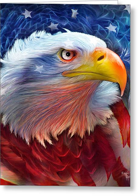 Bird Of Prey Mixed Media Greeting Cards - Eagle Red White Blue Greeting Card by Carol Cavalaris