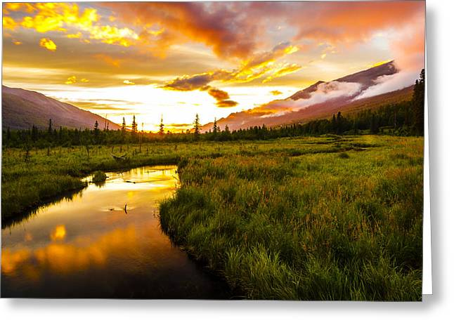 Nature Center Greeting Cards - Eagle River Valley Sunset Greeting Card by Kyle Lavey