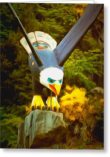 Native American Sculptures Greeting Cards - Eagle Sculpture Greeting Card by Floyd Snyder