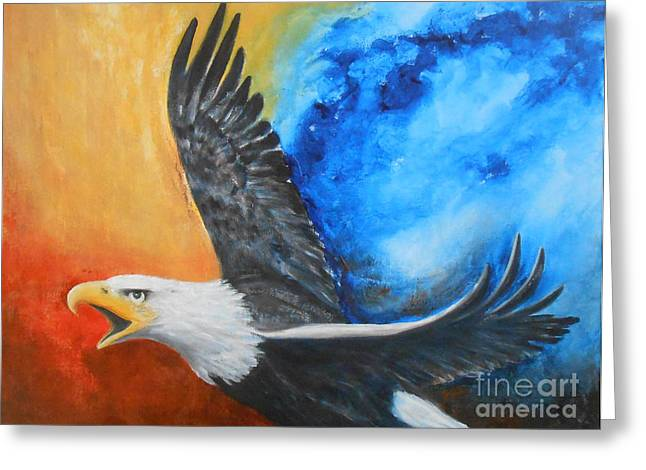 Jane See Art Greeting Cards - Eagle Spirit - Arise and Assert Greeting Card by Jane  See