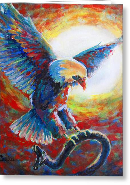 Eagle Takes Charge Greeting Card by Tamer and Cindy Elsharouni