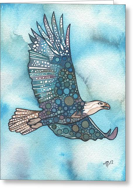 Watercolour Paintings Greeting Cards - Eagle Greeting Card by Tamara Phillips