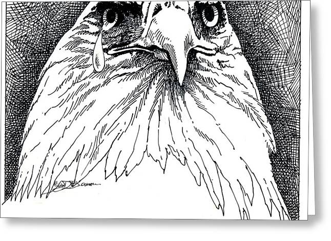 Tear Drawings Greeting Cards - Eagle with Tear Greeting Card by John D Benson