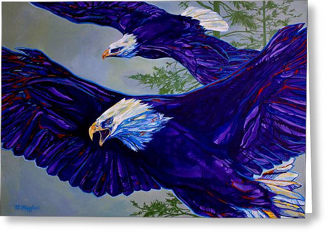 Soaring Paintings Greeting Cards - Eagles  Greeting Card by Derrick Higgins