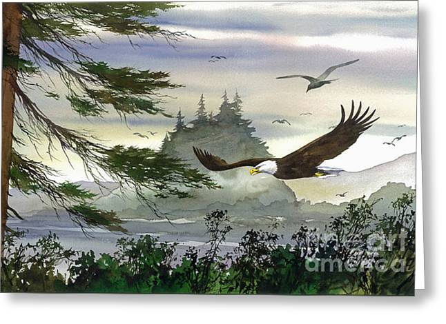 Eagles Flight Greeting Card by James Williamson