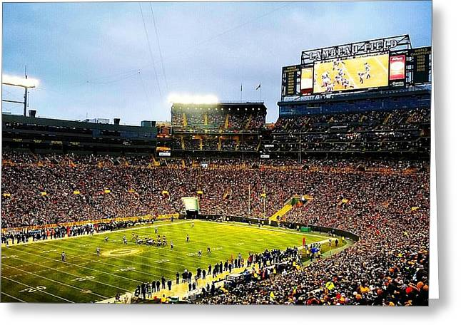 Lambeau Field Greeting Cards - Eagles Fly at Lambeau Greeting Card by Adam Milsted