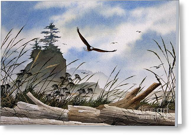 Wildlife Framed Prints Greeting Cards - Eagles Home Greeting Card by James Williamson