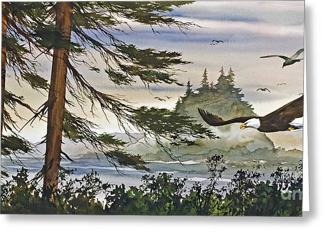 Eagle In Flight Greeting Cards - Eagles Majestic Flight Greeting Card by James Williamson
