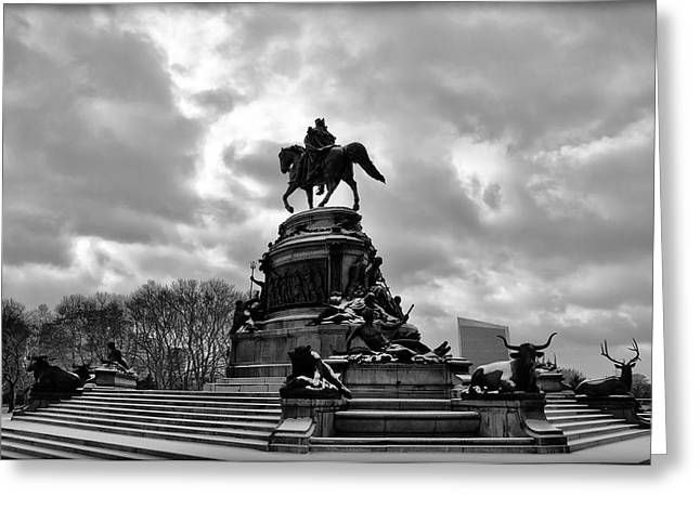 Phillies Art Digital Art Greeting Cards - Eakins Oval in Winter Greeting Card by Bill Cannon