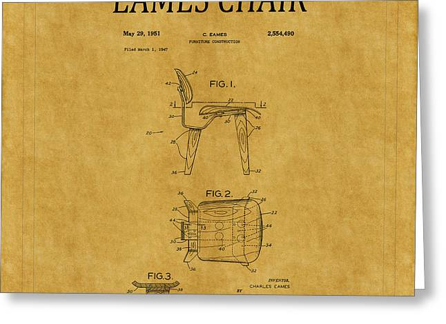 Eames Chair Greeting Cards - Eames Chair Patent 1 Greeting Card by Andrew Fare