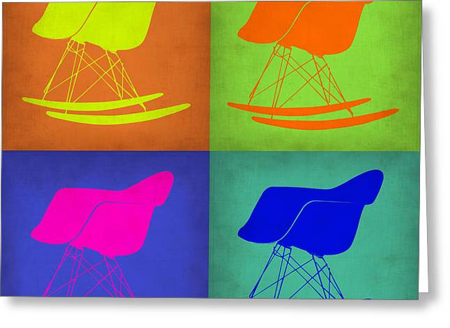 Rocking Chairs Digital Art Greeting Cards - Eames Rocking Chair Pop Art 1 Greeting Card by Naxart Studio