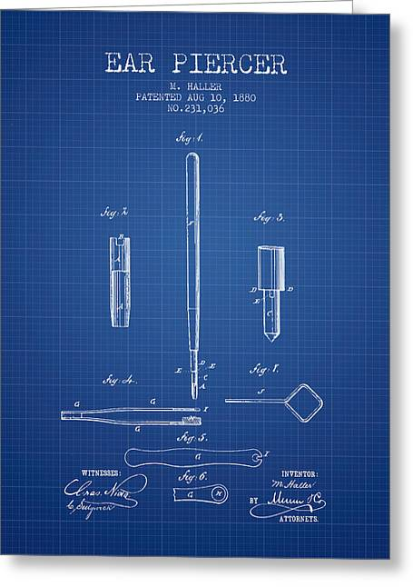 Piercings Greeting Cards - Ear Piercer Patent From 1880 - blueprint Greeting Card by Aged Pixel