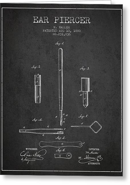 Piercings Greeting Cards - Ear Piercer Patent From 1880 - Charcoal Greeting Card by Aged Pixel