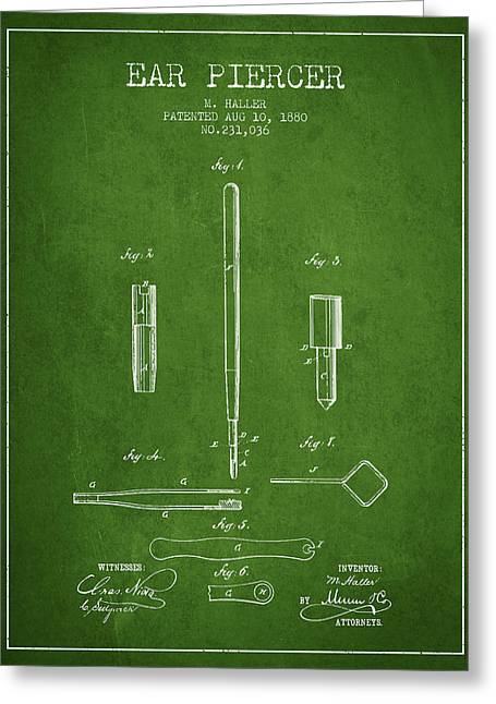 Ears Greeting Cards - Ear Piercer Patent From 1880 - Green Greeting Card by Aged Pixel