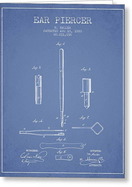 Ears Digital Art Greeting Cards - Ear Piercer Patent From 1880 - light blue Greeting Card by Aged Pixel