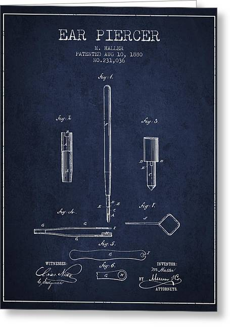Piercings Greeting Cards - Ear Piercer Patent From 1880 - Navy Blue Greeting Card by Aged Pixel