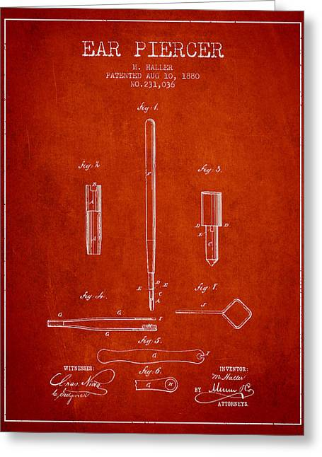 Ears Greeting Cards - Ear Piercer Patent From 1880 - Red Greeting Card by Aged Pixel