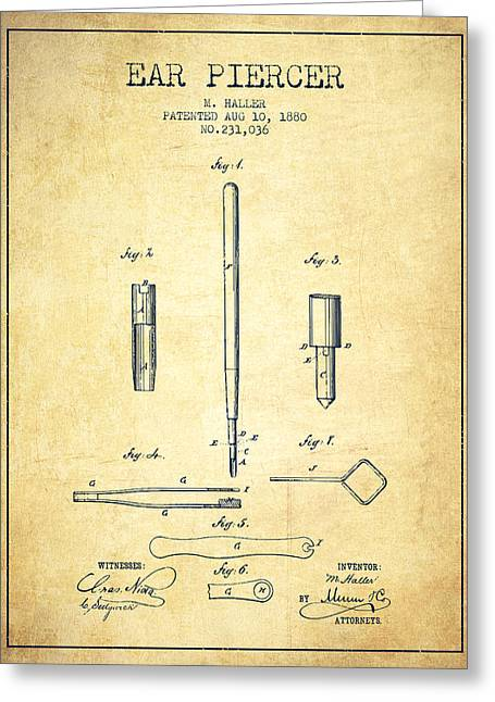 Ears Greeting Cards - Ear Piercer Patent From 1880 - vintage Greeting Card by Aged Pixel