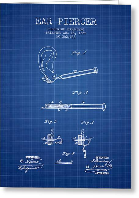 Piercings Greeting Cards - Ear Piercer Patent From 1882 - Blueprint Greeting Card by Aged Pixel