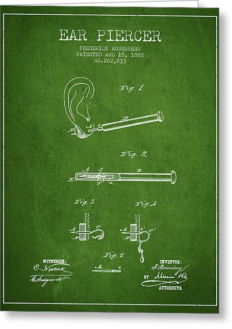 Piercings Greeting Cards - Ear Piercer Patent From 1882 - Green Greeting Card by Aged Pixel