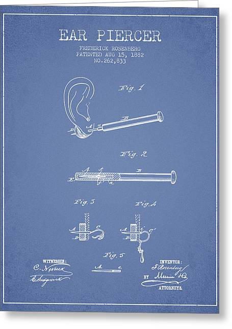 Ears Digital Art Greeting Cards - Ear Piercer Patent From 1882 - Light Blue Greeting Card by Aged Pixel