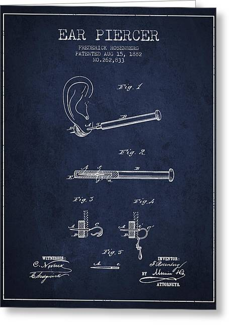 Ears Greeting Cards - Ear Piercer Patent From 1882 - Navy Blue Greeting Card by Aged Pixel