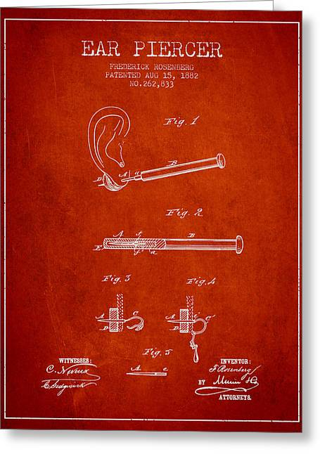 Ears Greeting Cards - Ear Piercer Patent From 1882 - Red Greeting Card by Aged Pixel
