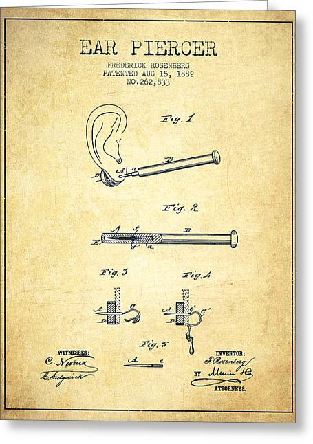 Ears Greeting Cards - Ear Piercer Patent From 1882 - Vintage Greeting Card by Aged Pixel