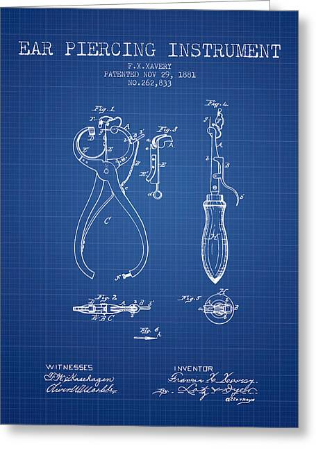 Piercings Greeting Cards - Ear Piercing Instrument Patent From 1881 - Blueprint Greeting Card by Aged Pixel