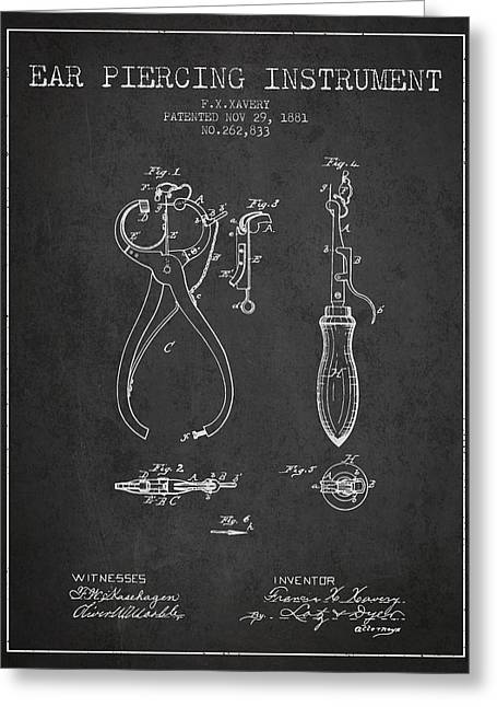 Ears Digital Art Greeting Cards - Ear Piercing Instrument Patent From 1881 - Charcoal Greeting Card by Aged Pixel