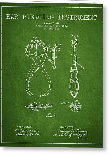 Ears Greeting Cards - Ear Piercing Instrument Patent From 1881 - Green Greeting Card by Aged Pixel