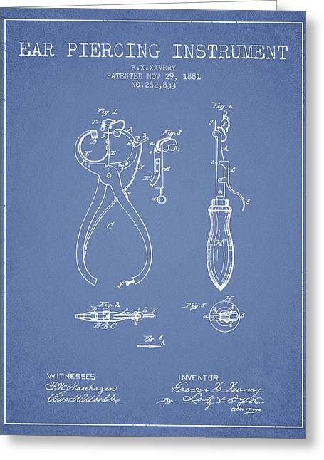 Piercings Greeting Cards - Ear Piercing Instrument Patent From 1881 - Light Blue Greeting Card by Aged Pixel