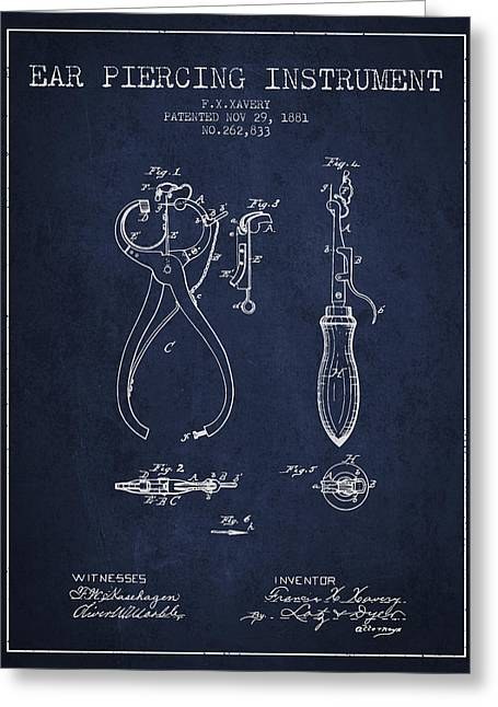 Piercings Greeting Cards - Ear Piercing Instrument Patent From 1881 - Navy Blue Greeting Card by Aged Pixel