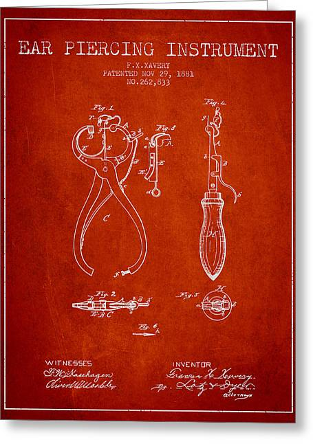 Piercings Greeting Cards - Ear Piercing Instrument Patent From 1881 - Red Greeting Card by Aged Pixel
