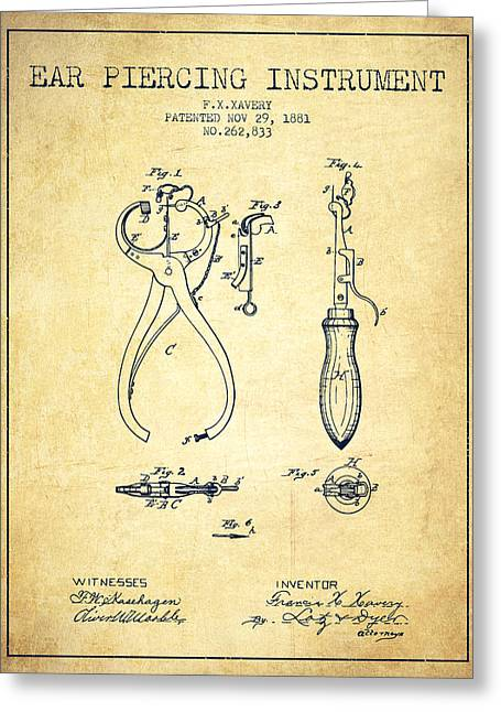 Piercings Greeting Cards - Ear Piercing Instrument Patent From 1881 - Vintage Greeting Card by Aged Pixel