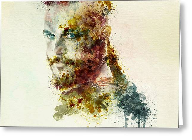 Fine Mixed Media Greeting Cards - Earl Ragnar Lothbrok in watercolor Greeting Card by Marian Voicu